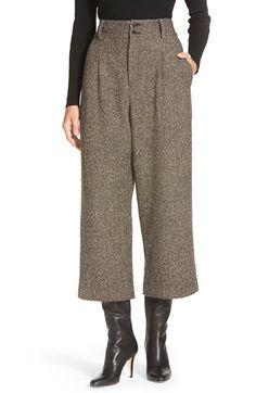 1920s inspired pants. Womens Pink Tartan Donegal Tweed High Waist Crop Pants Size 2 - Brown $194.98 AT vintagedancer.com