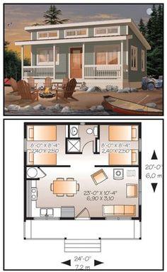 dva male domy propojene chodbou zadni s pokoji a kolpelnou a predni s kuchyni a obyvakem dva levne domy spojene Sims 4 House Plans, Small House Plans, Tiny Home Floor Plans, Tiny Cabin Plans, Square Floor Plans, Little House Plans, Guest House Plans, Sims House Design, Small House Design
