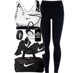 Outfit for the gym by ferned on Polyvore featuring NIKE, Fitbit, Casetify and Forever 21