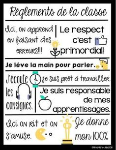 Affiche des règlements by Mme Marie Julie School Organisation, Classroom Organization, Classroom Management, Classroom Rules, Classroom Posters, French Classroom Decor, French Teaching Resources, Teacher Resources, French Flashcards