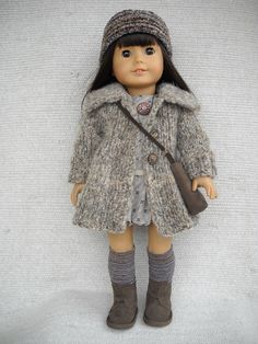 American Girl Doll Clothes MATCHING PATTERN outfit - 7 pieces with Sweater coat