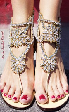 the feets are wearing Crystal Sandal by Aminah Abdul Jillil Zapatos Shoes, Shoes Sandals, Flat Sandals, Crazy Shoes, Me Too Shoes, Aminah Abdul Jillil, Estilo Hippie Chic, Pretty Sandals, Bridal Sandals