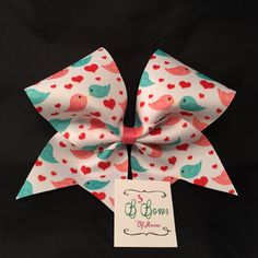 Love Birds Dye Sublimated Cheer Bow Valentine's Day by B3BowsMaine