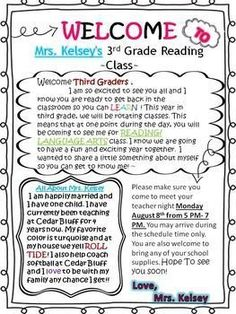 3 teacher chicks welcome letter to students and parents pinteres student welcome letter back to school letter meet your teacher m4hsunfo