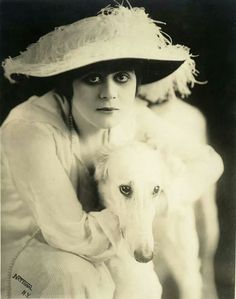 "Theda Bara with borzoi in movie called ""A Fool There Was""."