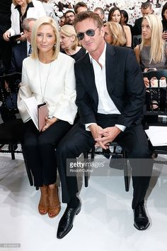 Princess Marie Chantal of Greece and Sean Penn attend the Christian Dior show as part of Paris Fashion Week - Haute Couture Fall/Winter 2014-2015. Held at Musee Rodin on July 7, 2014 in Paris, France.