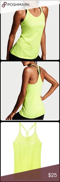 """Victoria's Secret Sport Tank Top NWT!  Neon yellow VSX tank top with white lighting.  Bust measured flat is 19"""".  Material is 60% cotton and 40% polyester. Victoria's Secret Tops Tank Tops"""