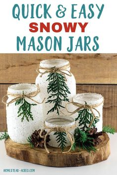 DIY snowy mason jars - How to make your own faux snow mason jar luminaries for Christmas and winter. They are so fast to make! DIY snowy mason jars - How to make your own faux snow mason jar luminaries for Christmas and winter. They are so fast to make! Mason Jar Projects, Mason Jar Crafts, Mason Jar Diy, Bottle Crafts, Diy Projects, Mason Jar Terrarium, Frosted Mason Jars, Fall Mason Jars, Mason Jar Candles