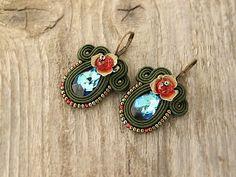 Bermuda blue swarovski earrings green soutache earrings by pUkke