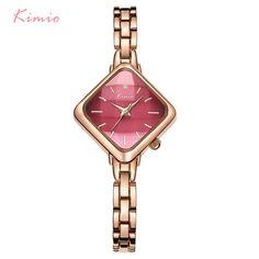5827e58cf6e7 Kimio Брендовые женские часы-браслет дамы просто прямоугольник платье  кварцевые часы из нержавеющей стали наручные