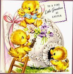 Ducks decorating an egg, vintage Easter card   #easter #card #illustration #duck #egg #vintage #retro #kitsch