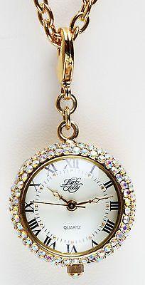 KIRKS FOLLY SEAVIEW MOON TIMEKEEPER WATCH CHARM NECKLACE goldtone