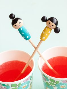 Make these adorable kiddie cocktail stir sticks inspired by Kokeshi dolls for your next party! Diy Kokeshi Dolls, Drink Stirrers, Stir Sticks, Diy Clothes, Diy Bedroom Decor, Nativity, My Favorite Things, How To Make, Handmade
