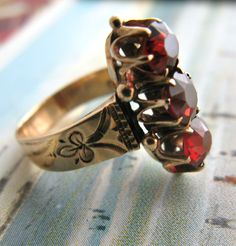 Garnet Trio Ring - hallmarks on the band's interior : this ring was made in England in 1859