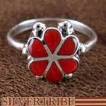 Zuni Native American Indian Jewelry Coral Flower Ring