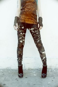Distressed DIY Leggings Strap Black and White.  Love these! SO RAD!