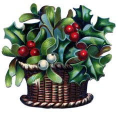 Vintage Christmas Image - Basket of Holly and Mistletoe - The Graphics Fairy Christmas Holly Images, Christmas Graphics, Christmas Clipart, Vintage Christmas Cards, Christmas Art, Handmade Christmas, Vintage Holiday, Xmas, Image Basket