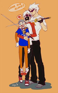 Homestuck Dave Strider, Bro, and Lil Cal (OMG, Dave, you should know better, Bro will always protect Cal)