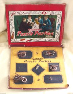GILBERT PUZZLE PARTIES METAL VINTAGE NO 1031 CHRISTMAS 1939 4 ATTACHED AS IS #ACGilbertCo