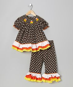 Take a look at this Brown Polka Dot Candy Corn Top & Pants - Infant, Toddler & Girls by Barefoot Childrens Clothing on #zulily today!