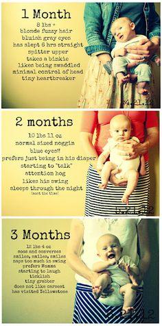 Baby picture each month with stats ~ linda forma de guardar los datos y ver crecimiento y tal :D