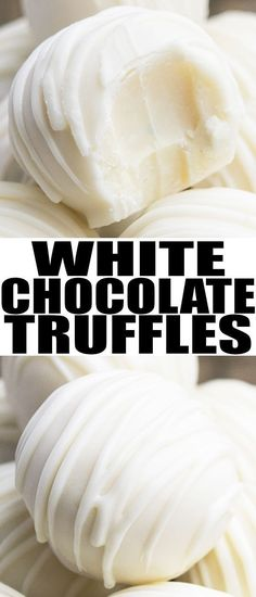 Easy white chocolate truffles recipe, made with simple ingredients. These rich a… Easy white chocolate truffles recipe, made with simple ingredients. These rich and creamy homemade truffles can be modified with many flavors and toppings. Homemade Truffles, Homemade Candies, White Chocolate Truffles, White Chocolate Recipes, Brigadeiro Chocolate, White Chocolate Candy, Chocolate Truffle Cake, Chocolate Chocolate, Chocolate Roulade