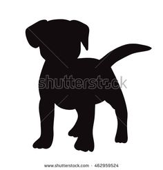 vector isolated silhouette of puppy