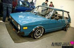 blue VW Golf Mk1 with Snowflackes wheels