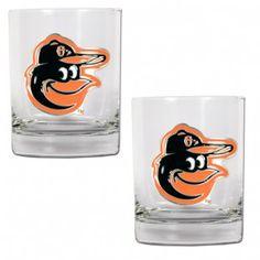 Baltimore Orioles MLB 2Pc Rocks Glass Set (Clear)