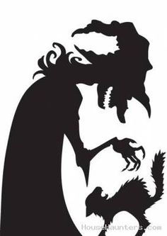 New Witch & Black Cat Window Poster Silhouettes Halloween Party Decoration