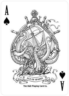 illustration ace of spades drawing painting outline black ink white playing cards boat kraken sea monster. Smal Tattoo, Totenkopf Tattoos, Octopus Art, Bild Tattoos, Arte Sketchbook, Desenho Tattoo, Skin Art, Compass Tattoo, Sword And Sorcery