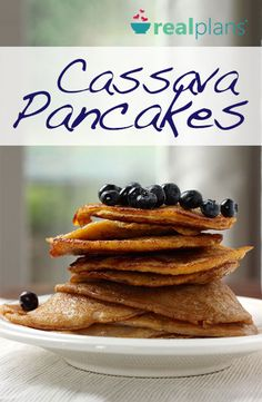 A gluten free pancake that doesn't need five different flours to get the texture just right, these Cassava Pancakes are the perfect make ahead option and AIP friendly! - add 3 scoops of protein powder Gluten Free Pancakes, Keto Pancakes, Waffles, Keto Vegan, Paleo Diet, Vegan Food, Paleo Recipes, Real Food Recipes, Disney Recipes