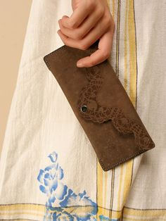etched leather wallet