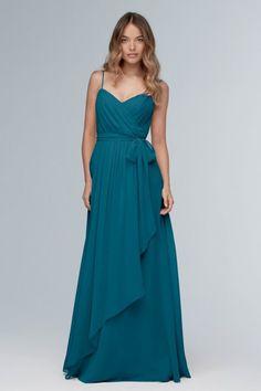 901537c0bec Description - Wtoo by Watters Style 102 - Full length wrap bridesmaid dress  - Sweetheart neckline - Asymetrical wrap skirt - Chiffon
