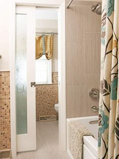 Trade a standard door for a sliding pocket door to utilize floor space once reserved for the door swing. This small bathroom features a sliding door with a frosted-glass panel that allows natural light to filter in while still providing privacy. Bifold doors (doors that fold up like a screen) can also save space./
