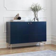 Infinity Blue sideboard i Golden pattern. Angles Low legs in brass and Mini Balls handles in solid brass. This sideboard is built around… Decor, Furniture, Interior, Storage Furniture Design, Ikea Frames, Ikea, Furniture Handles, Furniture Legs, Sideboard Designs