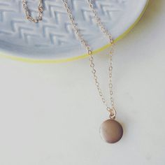 Tiny locket necklace on rose gold filled by LemonSweetJewelry