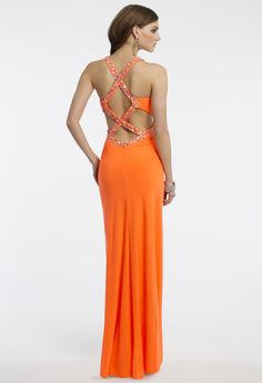 Camille La Vie Jersey Prom Dress with Beading in Orange