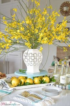 Home Decoration Bedroom Gorgeous spring centerpiece with lemons and forsythia.Home Decoration Bedroom Gorgeous spring centerpiece with lemons and forsythia