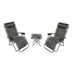 Zero Gravity Patio Set 2 Chairs 1 Table Outdoor Patio Deck Garden Furniture Grey #UNBRANDED