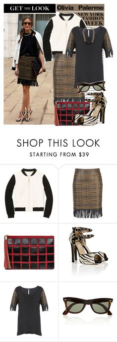 """""""Get the Look: Olivia Palermo NYFW"""" by helenevlacho ❤ liked on Polyvore featuring Oris, Vera Wang, Babaton, Dorothy Perkins, Valentino, Ray-Ban, Topshop, GetTheLook, StreetStyle and NYFW"""