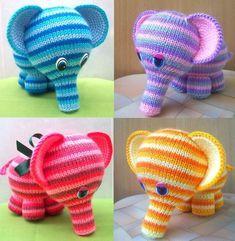 Игрушки вязанные спицами. Слоненок