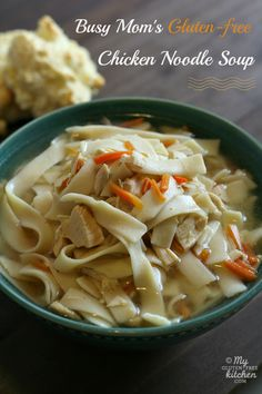 Busy Mom's Slow Cooker Gluten-free Chicken Noodle Soup ~ This comforting soup is made in the Crock-pot with only a little prep work!