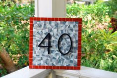 Red and Gray Mosaic Address Sign by GreenStreetMosaics on Etsy, $70.00