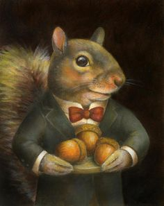 "This Victorian Squirrel Portrait Print will be a charming addition to the animal art collection of any squirrel lover or animal lover. He is shown offering acorns and would be a perfect housewarming gift for any squirrel lover! His portrait was inspired by the squirrels that I feed from the window of my apartment!  This is a print of an original oil painting. It is printed on 8 1/2"" x 11"" Epson heavy matte paper which gives it a rich, velvety look. I also use Epson inks guaranteed not t..."