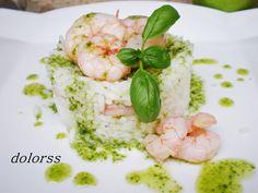 Blog de cuina de la dolorss: Ensalada de arroz y gambas con salsa de albahaca