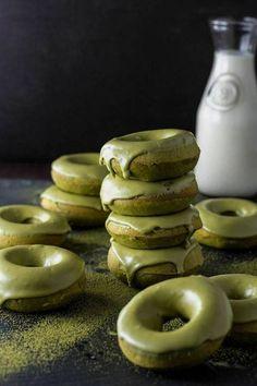 baked matcha glazed donuts.