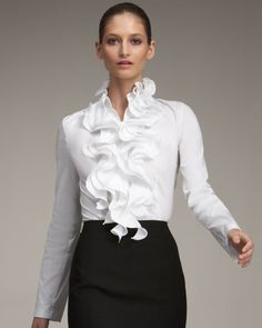 Escada Ruffled Blouse in White White Shirts Women, Blouses For Women, Casual Summer Outfits, Classy Outfits, Blouse Styles, Blouse Designs, White Ruffle Blouse, Looks Plus Size, Blouse And Skirt
