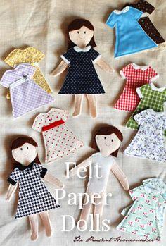 Felt Paper Dolls #make #craft #kids #activity #fun #sew #easy #felt #fabric #kits #charity