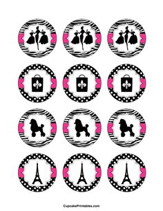 Use the circles for cupcakes, party favor tags, and more… Paris Birthday Parties, Paris Party, Paris Theme, Birthday Party Themes, Paris Rosa, Paris Cupcakes, Bolo Paris, Printable Designs, Free Printable